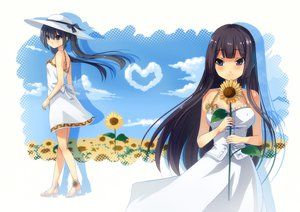Rating: Safe Score: 27 Tags: 2girls akiyama_mio black_eyes black_hair dress flowers hat k-on! li_(liras) long_hair nakano_azusa summer_dress sunflower twintails User: HawthorneKitty