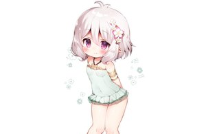 Rating: Safe Score: 60 Tags: blush gray_hair kokkoro koma_momozu pointed_ears princess_connect! purple_eyes short_hair signed swimsuit white User: otaku_emmy