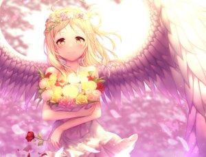 Rating: Safe Score: 55 Tags: angel blonde_hair blush dress flowers kokkeina_budou love_live!_school_idol_project love_live!_sunshine!! ohara_mari petals rose short_hair tiara wings yellow_eyes User: RyuZU