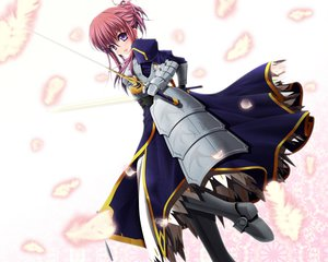 Rating: Safe Score: 33 Tags: armor cosplay dress fate_(series) fate/stay_night minakami_chikage petals purple_eyes red_hair schneider117 sister_princess sword weapon User: HawthorneKitty