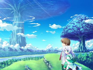 Rating: Safe Score: 16 Tags: alicia_infans blue_hair clouds game_cg grass green_eyes long_hair magus_tale school_uniform sky tenmaso tree whirlpool User: Oyashiro-sama