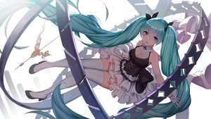 Rating: Safe Score: 96 Tags: breasts cleavage dress gloves green_eyes green_hair hatsune_miku long_hair pre_(pixiv17194196) thighhighs twintails vocaloid zettai_ryouiki User: BattlequeenYume