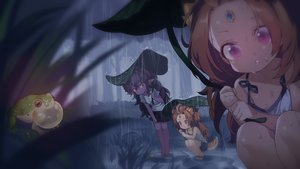 Rating: Safe Score: 66 Tags: animal black_hair brown_hair close dark dark_skin flat_chest forest frog leaves loli long_hair original pointed_ears purple_eyes rain red_eyes tail takotsu tree twins water wet User: otaku_emmy