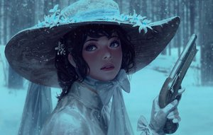 Rating: Safe Score: 67 Tags: black_hair blue_eyes bow forest gloves gun guweiz hat realistic ribbons short_hair snow tree weapon User: luckyluna