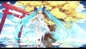 Rating: Safe Score: 100 Tags: aqua_eyes aqua_hair choker dress hatsune_miku l.l. long_hair ribbons torii tree twintails vocaloid User: Flandre93