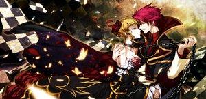 Rating: Safe Score: 66 Tags: beatrice blonde_hair butterfly chain dress hong_(white_spider) male red_hair umineko_no_naku_koro_ni ushiromiya_battler User: HawthorneKitty
