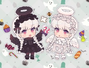 Rating: Safe Score: 11 Tags: 2girls alice_(fate/extra) angel braids cake candy chibi fate/extra fate_(series) food gloves goth-loli halloween halo headdress karokuchitose lolita_fashion lollipop long_hair nursery_rhyme_(fate/extra) red_eyes twintails white_hair wings User: otaku_emmy
