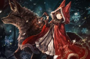 Rating: Safe Score: 131 Tags: animal animal_ears brown_hair cape christmas dress forest gloves hoodie long_hair original pantyhose senano-yu snow tree wolf yellow_eyes User: BattlequeenYume