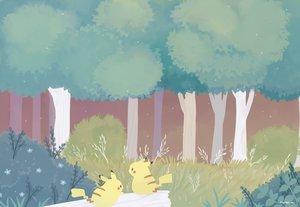 Rating: Safe Score: 34 Tags: ayu_(mog) forest grass nobody pikachu pokemon scenic signed tree waifu2x User: otaku_emmy