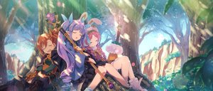 Rating: Safe Score: 47 Tags: akane_mimi animal_ears boots braids brown_hair bunny_ears dress forest hat hikawa_kyoka hodaka_misogi long_hair pink_hair pointed_ears ponytail princess_connect! purple_hair sleeping staff tree twintails yuuki_tatsuya User: BattlequeenYume