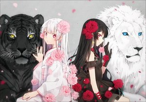 Rating: Safe Score: 113 Tags: 2girls animal black_hair blue_eyes flowers gloves hakusai japanese_clothes kimono lion long_hair original petals pink_eyes rose tiger white_hair yellow_eyes User: BattlequeenYume
