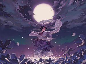 Rating: Safe Score: 106 Tags: animal_ears black_hair clouds dark flowers geister japanese_clothes jpeg_artifacts moon night petals red_eyes sky User: gnarf1975
