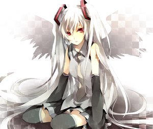 Rating: Safe Score: 99 Tags: hatsune_miku long_hair red_eyes twintails vocaloid white_hair wings User: mihaela94
