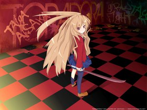 Rating: Safe Score: 36 Tags: aisaka_taiga brown_hair long_hair red_eyes school_uniform skirt sword thighhighs toradora weapon User: mikucchi
