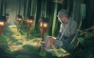 Rating: Safe Score: 40 Tags: all_male animal demon fish forest gray_hair horns japanese_clothes katana kimono leaves long_hair male original pixiv_fantasia pointed_ears sword tagme_(artist) tree water weapon User: otaku_emmy
