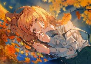 Rating: Safe Score: 34 Tags: autumn leaves long_hair omutatsu orange_hair original reflection skirt water yellow_eyes User: BattlequeenYume