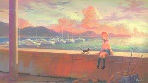 Rating: Safe Score: 43 Tags: animal bird boat cat clouds feel_(nasitaki) kneehighs orange_hair original scenic seifuku short_hair signed skirt sky sunset water User: luckyluna