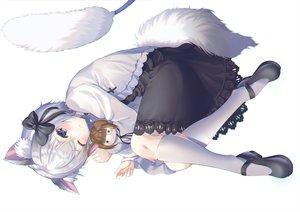 Rating: Safe Score: 100 Tags: animal_ears blue_eyes bow catgirl doll dress hyonee kneehighs original short_hair tail white white_hair wink User: BattlequeenYume