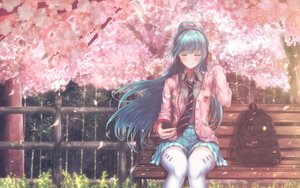 Rating: Safe Score: 144 Tags: absent aqua_hair blush cherry_blossoms flowers hatsune_miku headphones long_hair school_uniform skirt spring thighhighs tie vocaloid zettai_ryouiki User: Fepple