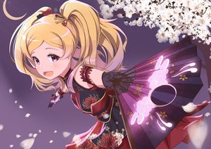 Rating: Safe Score: 37 Tags: aritomi blonde_hair blush emily_stewart fan flowers gloves idolmaster idolmaster_million_live! japanese_clothes long_hair petals purple_eyes twintails User: RyuZU