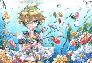 Rating: Safe Score: 21 Tags: all_male aqua_eyes blonde_hair bubbles flowers headphones kagamine_len male petals short_hair tagme_(artist) underwater vocaloid water User: RyuZU