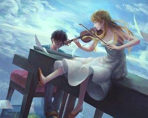 Rating: Safe Score: 10 Tags: arima_kousei black_hair blonde_hair cropped dress glasses instrument male miyazono_kawori paper piano shigatsu_wa_kimi_no_uso violin w.t User: mattiasc02
