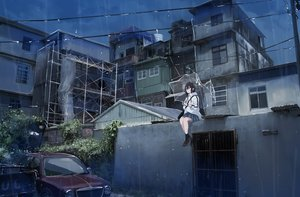 Rating: Safe Score: 76 Tags: black_hair building car city night original rain sakeharasu school_uniform short_hair skirt socks umbrella water User: BattlequeenYume