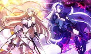 Rating: Safe Score: 28 Tags: 2girls armor blonde_hair breasts chain fate/grand_order fate_(series) jeanne_d'arc_alter long_hair ruler_(fate/apocrypha) shinooji sword thighhighs weapon white_hair yellow_eyes User: mattiasc02