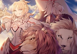Rating: Safe Score: 35 Tags: animal armor blonde_hair blue_eyes clouds fate/apocrypha fate_(series) lion mordred sky sword weapon yellow_eyes yorukun User: otaku_emmy