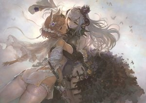 Rating: Safe Score: 75 Tags: 2girls animal_ears ass breasts brown_eyes brown_hair butterfly crown flowers headdress horns hug original short_hair sideboob sword thighhighs weapon white_hair yellow_eyes yoshiku_(oden-usagi) User: RyuZU