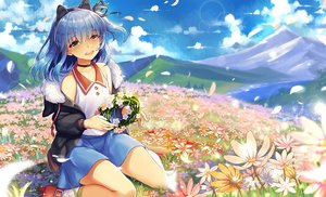 Rating: Safe Score: 28 Tags: abondz all_male animal_ears blue_hair blush choker clouds flowers green_eyes headband hoodie landscape male ponytail ryone_yami scenic short_hair signed skirt sky trap utau User: BattlequeenYume