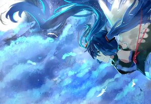 Rating: Safe Score: 7 Tags: blue_hair hatsune_miku long_hair sky tie twintails vocaloid wings User: humanpinka
