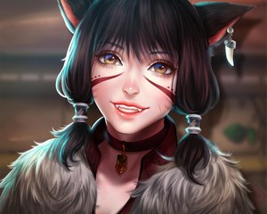Rating: Safe Score: 3 Tags: black_hair brown_eyes catgirl choker close cropped enmoire final_fantasy final_fantasy_xiv miqo'te realistic scar short_hair tattoo User: SciFi
