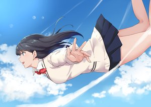 Rating: Safe Score: 76 Tags: aqua_eyes black_hair bow clouds long_hair school_uniform skirt sky ssss.gridman takarada_rikka terry_(pixiv3274443) User: RyuZU