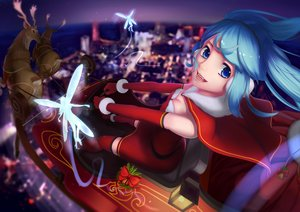 Rating: Safe Score: 168 Tags: animal blue_eyes blue_hair christmas elbow_gloves fairy fang gloves hatsune_miku headband night santa_costume twintails vocaloid wei_ji User: FormX