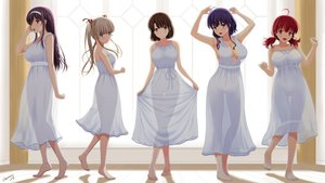 Rating: Safe Score: 85 Tags: barefoot breasts cleavage dress hashima_izumi hyoudou_michiru kasumigaoka_utaha katou_megumi nopan saenai_heroine_no_sodatekata satou_chagashi sawamura_spencer_eriri see_through signed summer_dress User: gnarf1975