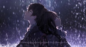 Rating: Safe Score: 117 Tags: blue_eyes chitanda_eru cici close dark green_eyes hyouka long_hair male oreki_houtarou rain short_hair water User: luckyluna