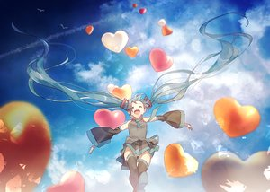 Rating: Safe Score: 29 Tags: aqua_hair clouds hatsune_miku hotechige long_hair panties skirt sky striped_panties thighhighs tie twintails underwear vocaloid User: FormX