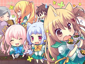 Rating: Safe Score: 74 Tags: animal_ears bell blonde_hair bow brown_hair catgirl chibi fang flowers group kiryuu_hina koshimizu_rei multiple_tails neko_koi pink_hair red_eyes ribbons ryuudou_misaki short_hair skirt tail toono_sayaka white_hair User: Tensa