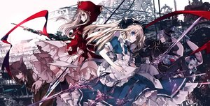 Rating: Safe Score: 135 Tags: alice_in_wonderland alice_(wonderland) animal_ears apron big_bad_wolf blonde_hair blue_eyes bow dress hat hoodie little_red_riding_hood mad_hatter male original ra-bit red_riding_hood sword tie weapon white_rabbit User: FormX