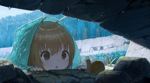 Rating: Safe Score: 151 Tags: brown_eyes brown_hair close hoodie loli original rain richard_viii short_hair water User: otaku_emmy