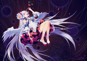 Rating: Safe Score: 79 Tags: bicolored_eyes criin_(659503) dress horns long_hair petals signed vocaloid white_hair wings User: RyuZU