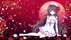 Rating: Safe Score: 51 Tags: barefoot blush breasts brown_hair cleavage dress flowers g_ieep gradient hat long_hair nurse original rose User: BattlequeenYume