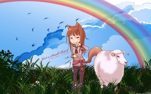 Rating: Safe Score: 22 Tags: animal_ears clouds grass horo long_hair ookami_to_koushinryou orange_hair red_eyes sky tail wolfgirl User: 秀悟