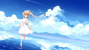 Rating: Safe Score: 71 Tags: air animal aqua_eyes barefoot bird blonde_hair blush clouds dress kamio_misuzu long_hair ponytail reflection ribbons scenic sky water xia_xiang_(ozicha) User: RyuZU