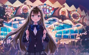 Rating: Safe Score: 57 Tags: long_hair night nyanya original school_uniform signed skirt User: BattlequeenYume