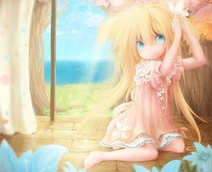 Rating: Safe Score: 89 Tags: barefoot blonde_hair blue_eyes chameko doggirl dress flowers kukki_(manahui) original User: Zolxys