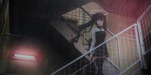 Rating: Safe Score: 47 Tags: black_hair chihuri405 collar dark dress halo long_hair original purple_eyes rain stairs thighhighs twintails water User: BattlequeenYume