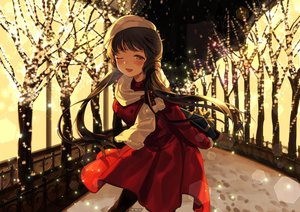 Rating: Safe Score: 39 Tags: blush brown_eyes brown_hair idolmaster idolmaster_million_live! kitakami_reika long_hair nys scarf snow tree wink winter User: BattlequeenYume