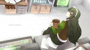 Rating: Safe Score: 47 Tags: computer dress green_eyes green_hair headdress hello_planet_(vocaloid) long_hair mura_(utau) nokko utau User: FormX